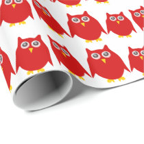Red Owls Wrapping Paper