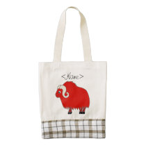 Red Ox with Curled Horns Zazzle HEART Tote Bag