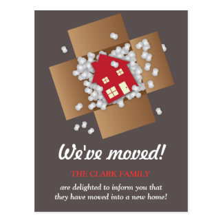 Red Packing Popcorn Moving Announcement Postcard