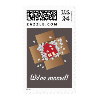 Red Packing Popcorn Moving Announcement Stamps