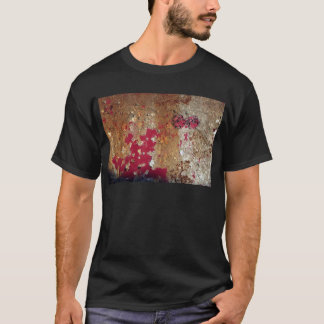 Red paint on rusty metal funky background T-Shirt