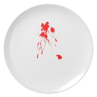 Red paint splatter plate