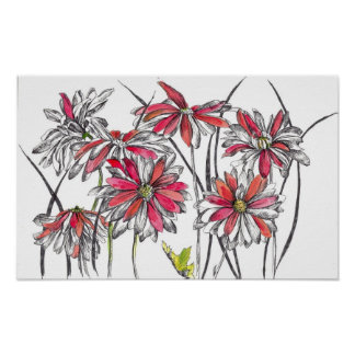 Red Painted Daisy Flower Ink Drawing Poster