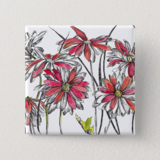 Red Painted Daisy Flowers Botanical Art Button
