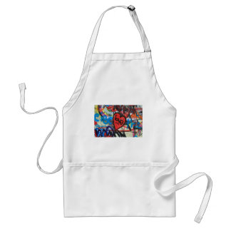 red painted heart love graffiti adult apron