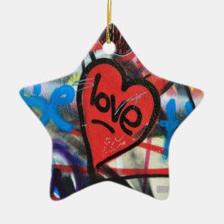 red painted heart love graffiti ceramic ornament