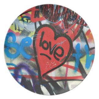 red painted heart love graffiti dinner plate