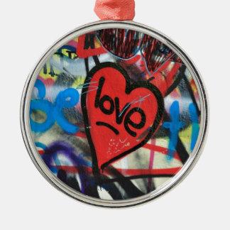 red painted heart love graffiti metal ornament