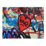 red painted heart love graffiti postcard