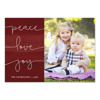 Red Painted Peace Love Joy Photo Holiday Card