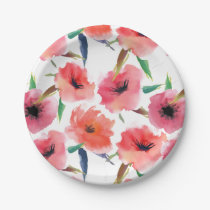 Red Painted Poppies Floral Pattern Paper Plate