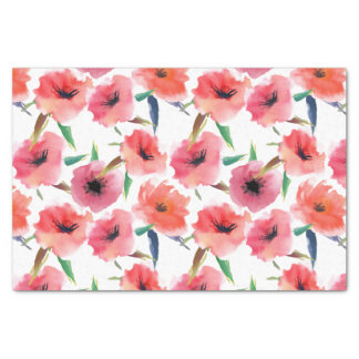 Red Painted Poppies Watercolor Floral Tissue Paper