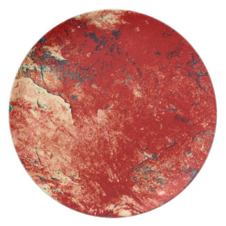 Red Painted Rock Wall Dinner Plate