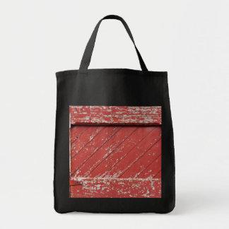 Red Painted Wooden Barn Door Tote Bag