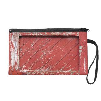 Red Painted Wooden Barn Door Wristlet Clutches
