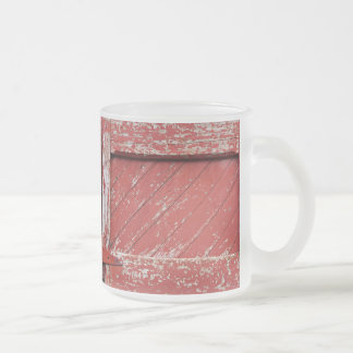 Red Painted Wooden Barn Door Frosted Glass Coffee Mug