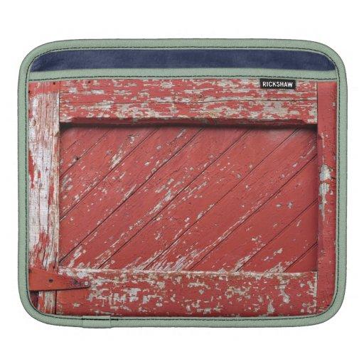 Red Painted Wooden Barn Door iPad Sleeves