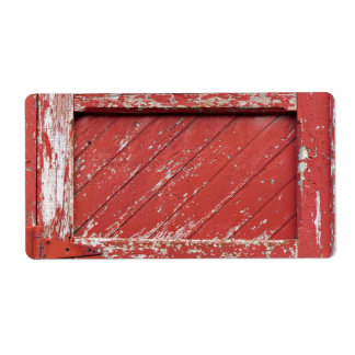 Red Painted Wooden Barn Door Label