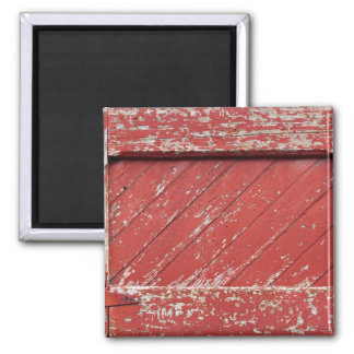 Red Painted Wooden Barn Door Magnet