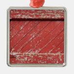 Red Painted Wooden Barn Door Ornaments