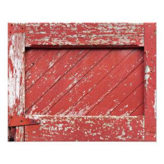 Red Painted Wooden Barn Door Photo Print