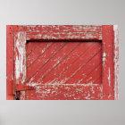 Red Painted Wooden Barn Door Poster