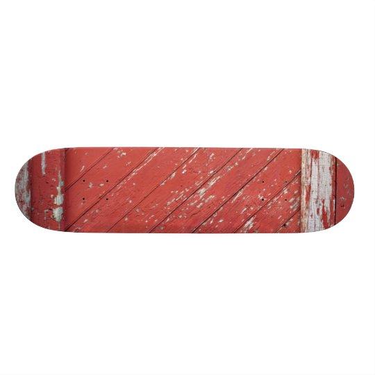 Red Painted Wooden Barn Door Skateboard Deck