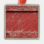 Red Painted Wooden Barn Door Square Metal Christmas Ornament