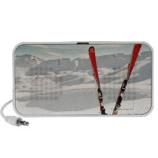Red pair of ski standing in snow iPod speakers