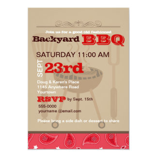Red Paisley Backyard BBQ Card