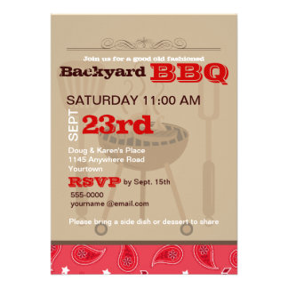 Red Paisley Backyard BBQ Personalized Announcement