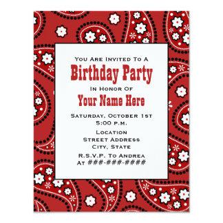 """Red Paisley Bandana Inspired Birthday Invitation 4.25"""" X 5.5"""" Invitation Card"""