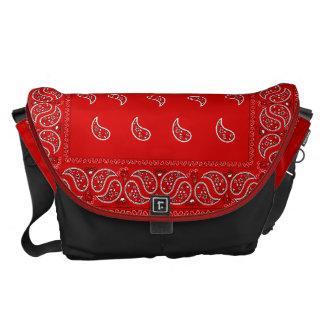 Red paisley bandana pattern messenger bag
