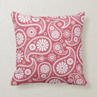 Red Paisley Bandana Pattern Throw Pillow