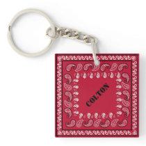Red Paisley Bandana Personalized Keychain