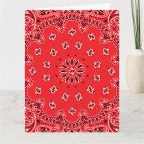 Red Paisley Bandanna Pattern Card