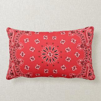Red Paisley Bandanna Pattern Lumbar Pillow