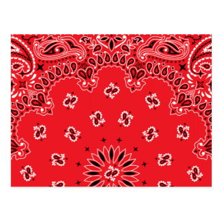 Red Paisley Bandanna Pattern Postcard