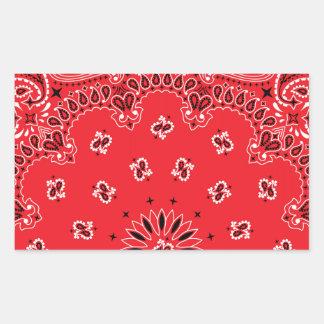 Red Paisley Bandanna Pattern Rectangular Sticker