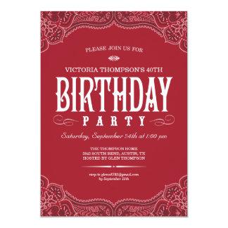 Red Paisley Birthday Invitations