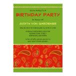 "Red Paisley Birthday Party 5"" X 7"" Invitation Card"