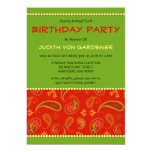 Red Paisley Birthday Party 5x7 Paper Invitation Card