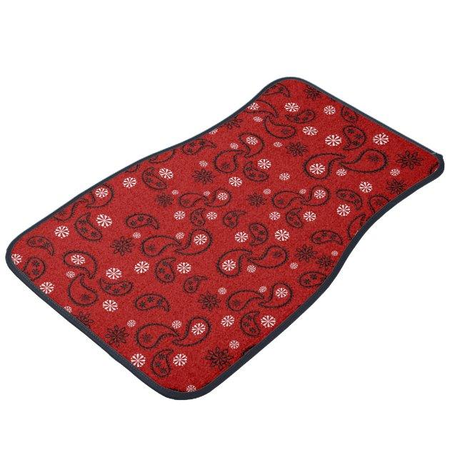 Red Paisley Cowboy Cowgirl Western Bandana Car Floor Mat