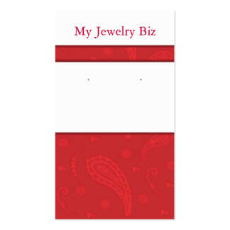 Red Paisley Earring Cards Business Cards
