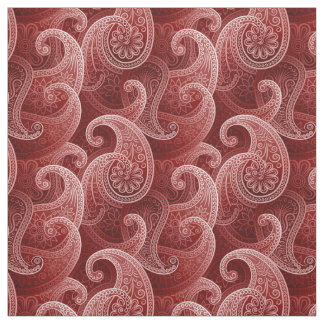 Red Paisley Exotic Pattern Fabric
