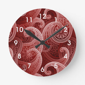 Red Paisley Exotic Pattern Round Clock