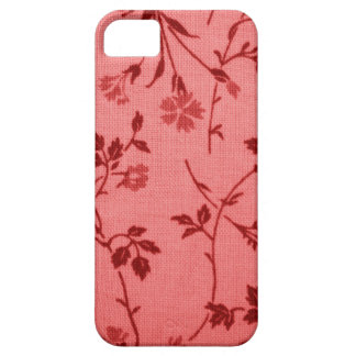Red paisley fabric like linen look iPhone SE/5/5s case
