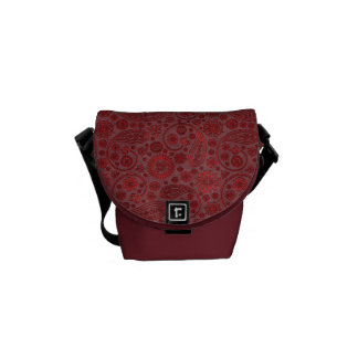 Red Paisley & Flowers Pattern Messenger Bag