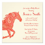 Red Paisley Horse Baby Shower Card