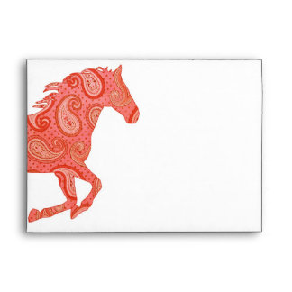 Red Paisley Horse Envelope